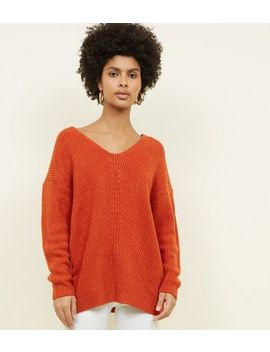 Tall Orange V Neck Stitch Jumper by New Look