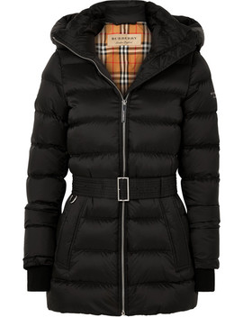 Hooded Belted Quilted Shell Down Jacket by Burberry
