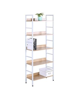 Woltu Heavy Duty Bookcases, 5 Tiers Bookshelves Corner And Library Bookcase Furniture Freestanding Display Shelf White Wood by Woltu