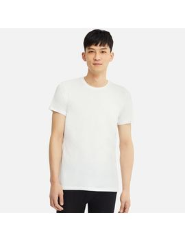 Men Heattech Crew Neck T Shirt (Short Sleeve) by Uniqlo