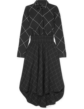 Robe Midi Asymétrique En Serge à Carreaux by Maje