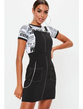 Black Pinafore Stitch Detail Dress by Missguided