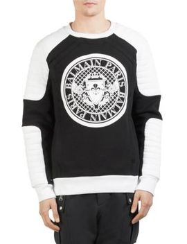 Quilted Moto Coin Crewneck by Balmain