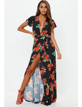 Black Plunge Wrap Floral Maxi Dress by Missguided