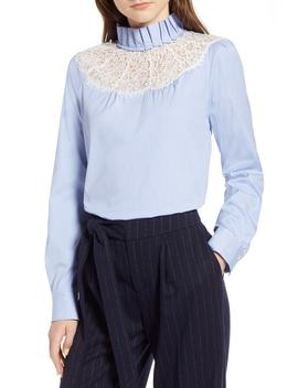 Lace Yoke Poplin Pinstripe Blouse by Halogen®