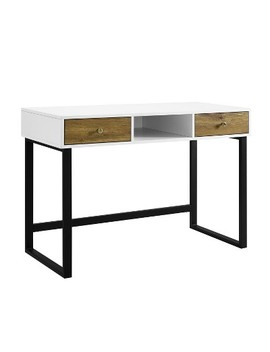 "44"" Modern Two Tone Desk With Drawers White/Barnwood   Saracina Home by Saracina Home"