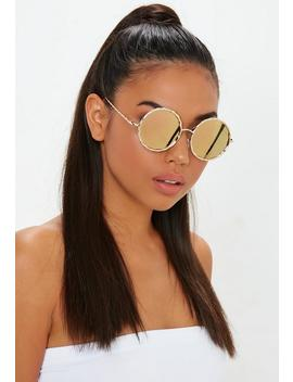 Gold Oversized Circle Sunglasses by Missguided