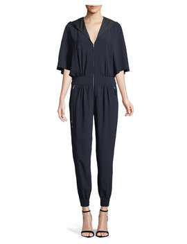 Cape Sleeve Hooded Zip Jumpsuit by Halston Heritage