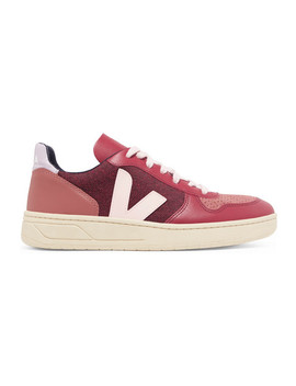 V 10 Leather, Suede And Tweed Sneakers by Veja