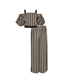 Girls Navy Stripe Bardot Top Outfit by River Island