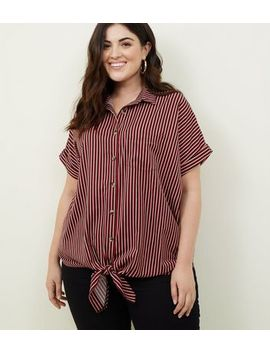 Curves Red Stripe Tie Front Shirt by New Look