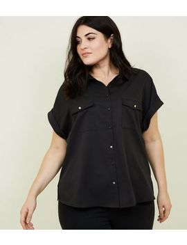 Curves Black Twill Short Sleeve Utility Shirt by New Look