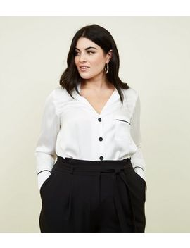 Curves White Satin Contrast Piped  Shirt by New Look