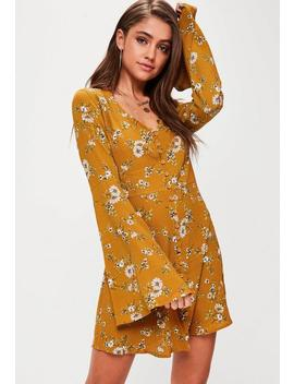 Yellow Floral Button Flare Sleeve Skater Dress by Missguided