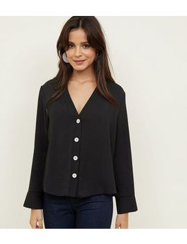 Black Button Front Long Sleeve Shirt by New Look