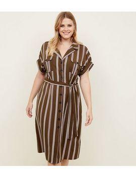 Curves Green Stripe Midi Shirt Dress by New Look