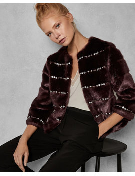 Embellished Body Faux Fur Jacket by Ted Baker