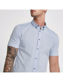 Light Blue Muscle Fit Short Sleeve Shirt by River Island