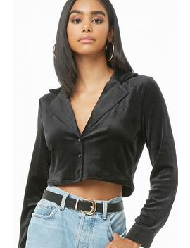 Plush Button Front Crop Top by Forever 21