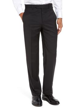 Devon Flat Front Solid Wool Serge Trousers by Zanella