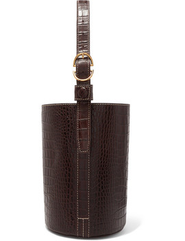 Small Croc Effect Leather Bucket Bag by Trademark
