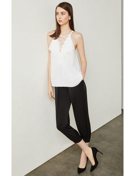 Lace Up Ruffle Tank Top by Bcbgmaxazria