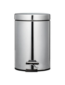 John Lewis & Partners Round Soft Close Pedal Bin, 3 L, Stainless Steel by John Lewis & Partners