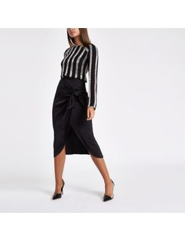Black Satin Tie Front Pencil Skirt by River Island