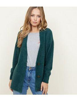 Dark Green Fluffy Oversized Cardigan by New Look