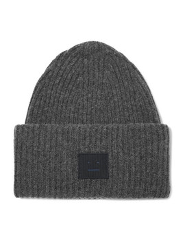 Pansy Face Appliquéd Ribbed Wool Blend Beanie by Acne Studios