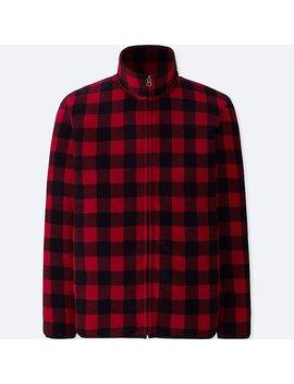 Men Printed Fleece Long Sleeve Full Zip Jacket by Uniqlo