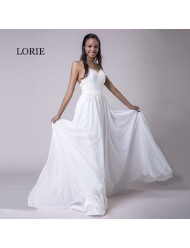 Lorie Spaghetti Strap Cheap Wedding Dresses Princess Backless Chiffon Lace Sweep Train White Bride Dress Beach Wedding Gown 2018 by Lorie