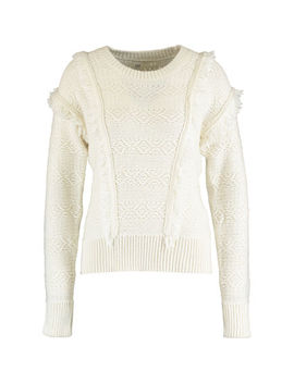 Cream Fringe Wool Blend Jumper by Gap