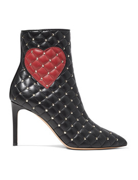 Valentino Garavani Studded Quilted Leather Ankle Boots by Valentino
