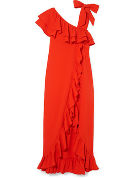 Clark Ruffled Stretch Crepe Maxi Dress by Ganni