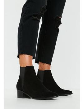 Black Real Suede Chelsea Ankle Boots by Missguided