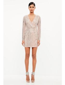 Peace + Love Premium Nude Stud Mini Dress by Missguided