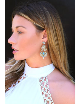 Color Me Rococo Gold And Turquoise Rhinestone Earrings by Lulus