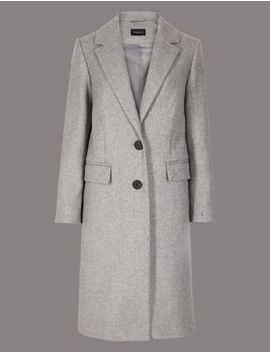 Petite Textured Single Breasted Coat by Marks & Spencer