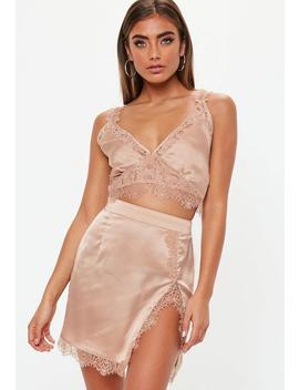 Pink Lace Insert Satin Bralet by Missguided