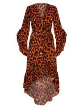 Rust Oversized Animal Print Ruffle Sleeve Wrap Midi Dress by Prettylittlething