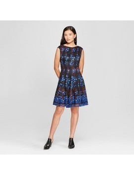 Women's Printed Lace Fit And Flare Dress   Melonie T   Navy by Melonie T