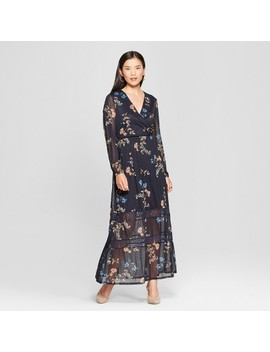Women's Printed Mesh Maxi Dress   Spenser Jeremy   Navy by Spenser Jeremy