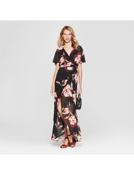 Women's Floral Print Maxi Dress   Lux Ii   Black by Lux Ii