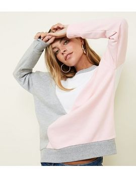 Petite Pink Diagonal Colour Block Sweatshirt by New Look