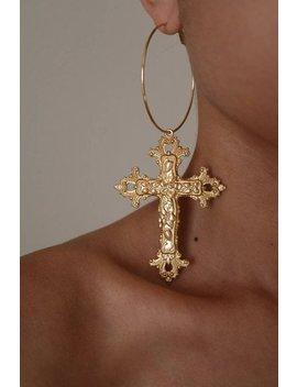Dancing Queen Cross Hoop Earrings   Gold Earrings   Hoop Earrings   Dangle Earrings   Cross Earrings   Large Hoop Earrings   Large Cross by Etsy