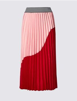Colour Block Pleated Midi Skirt by Marks & Spencer