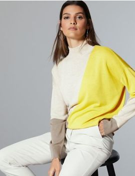 Wool Rich Colour Block Turtle Neck Jumper by Marks & Spencer