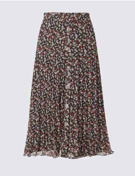 Floral Print Pleated Skirt by Marks & Spencer