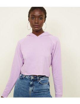 Purple Raw Hem Cropped Hoodie by New Look